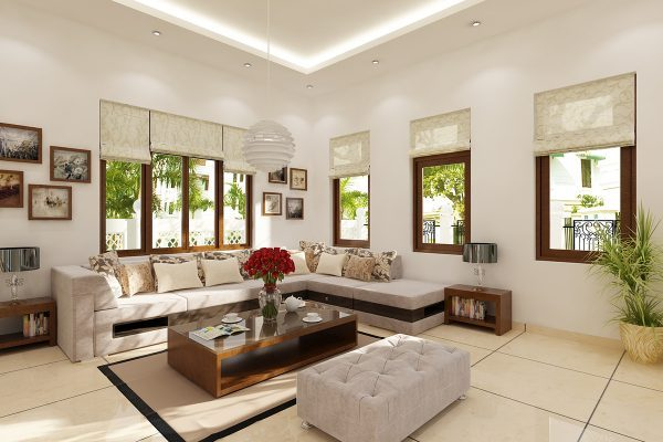 Trang trí phòng khách chung cư với màu sắc hiện đại