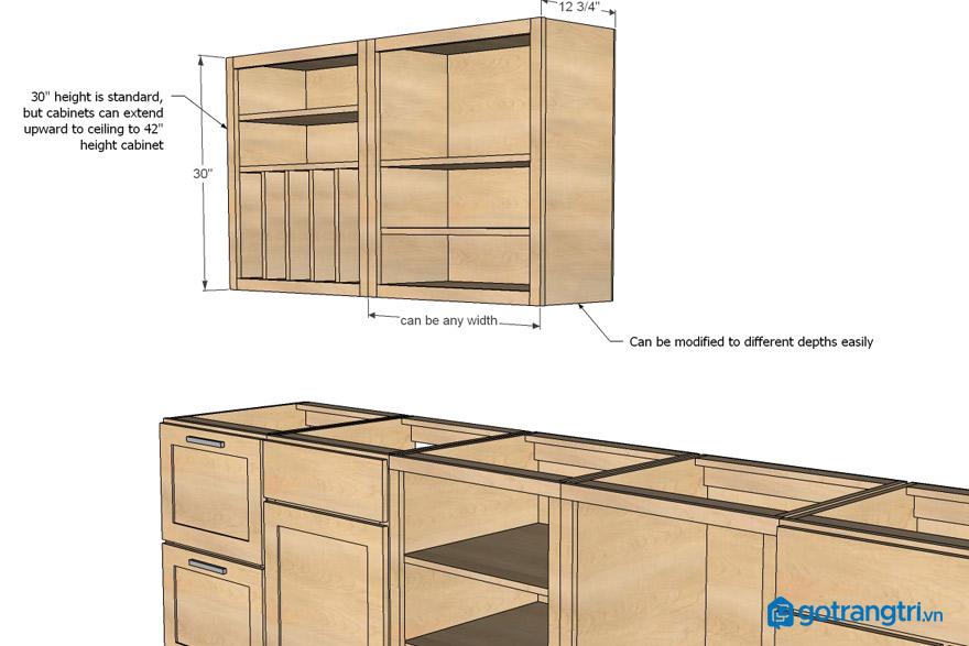 Kích thước của tủ bếp là bao nhiêu sẽ hợp lý?