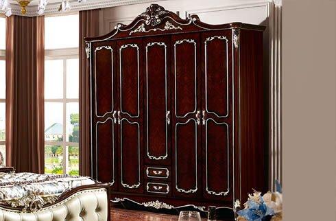 Tủ quần áo thiết kế 5 buồng gỗ tự nhiên cổ điển