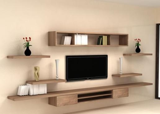 Kệ tivi gỗ treo tường hiện đại