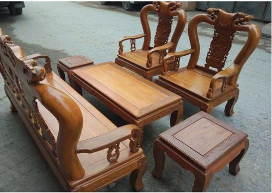 Bộ bàn ghế gỗ lim nghiến tay 10-80