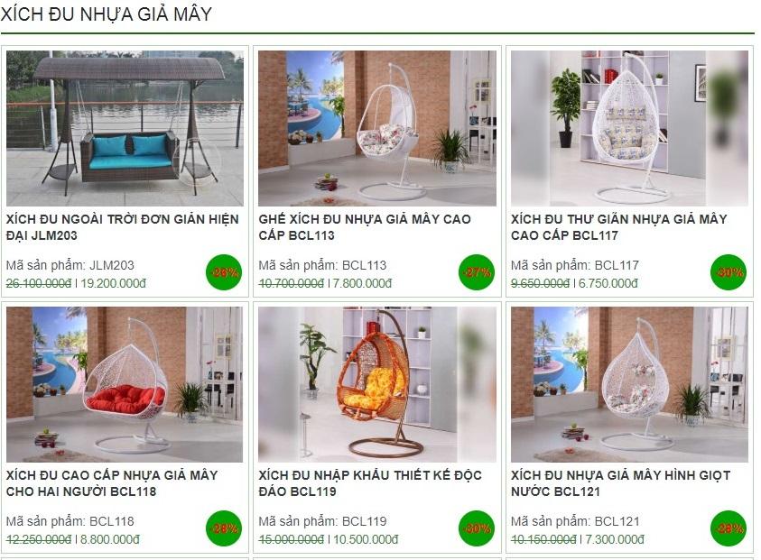 Địa chỉ mua xích đu nhựa giả mây bao rẻ bao tốt tại HN, TPHCM